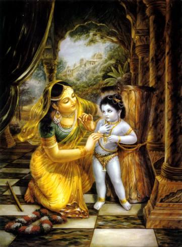Ma Yashoda tying Lord Krishna