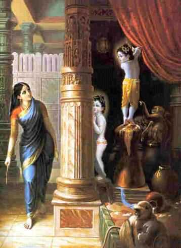 Ma Yashoda looking for Lord Krishna