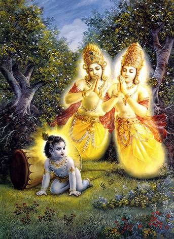 Lord Krishna liberating Kuvera's sons from the curse